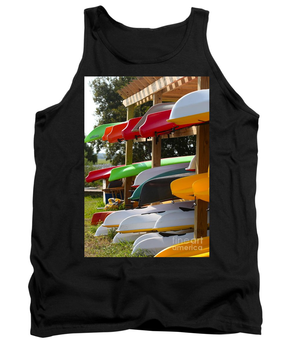 Canoes Tank Top featuring the photograph Colorful Canoes by Nadine Rippelmeyer
