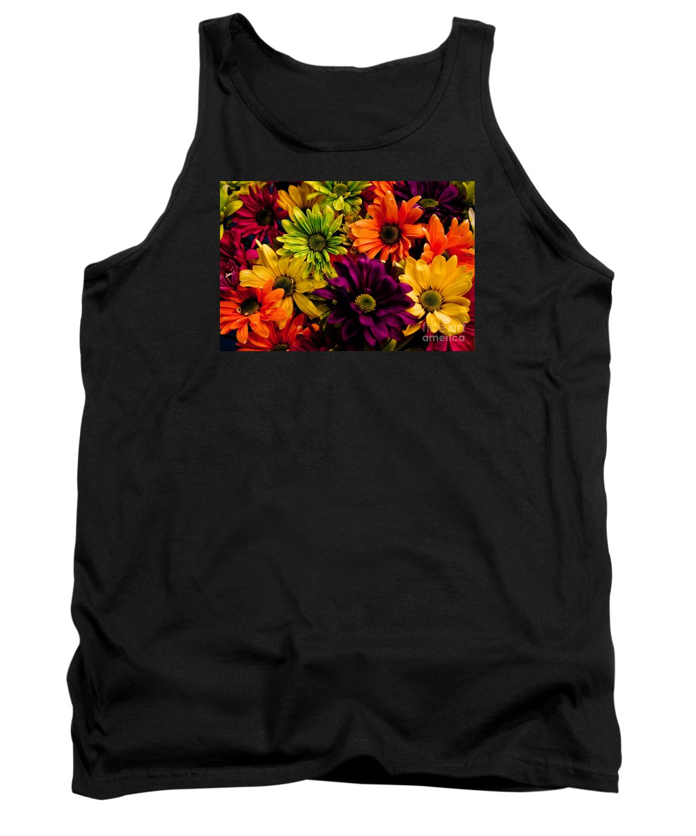 Daisies Tank Top featuring the photograph Colorful Daisies by Robin Lynne Schwind
