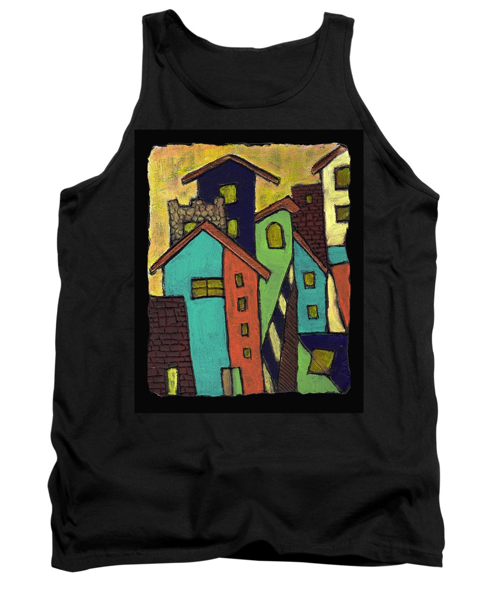 City Tank Top featuring the painting Colorful Neighborhood by Wayne Potrafka