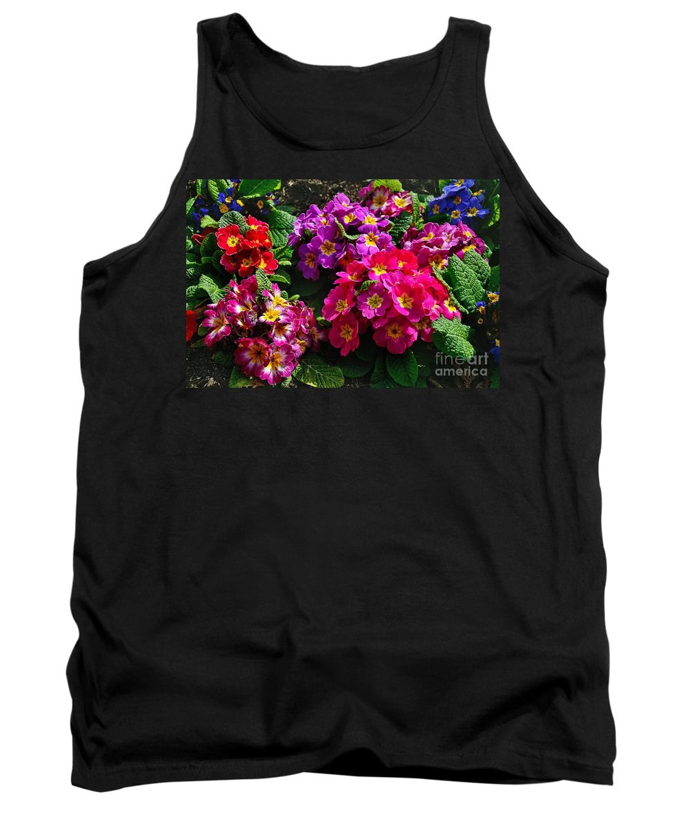 Photography Tank Top featuring the photograph Colorful Spring Primrose By Kaye Menner by Kaye Menner