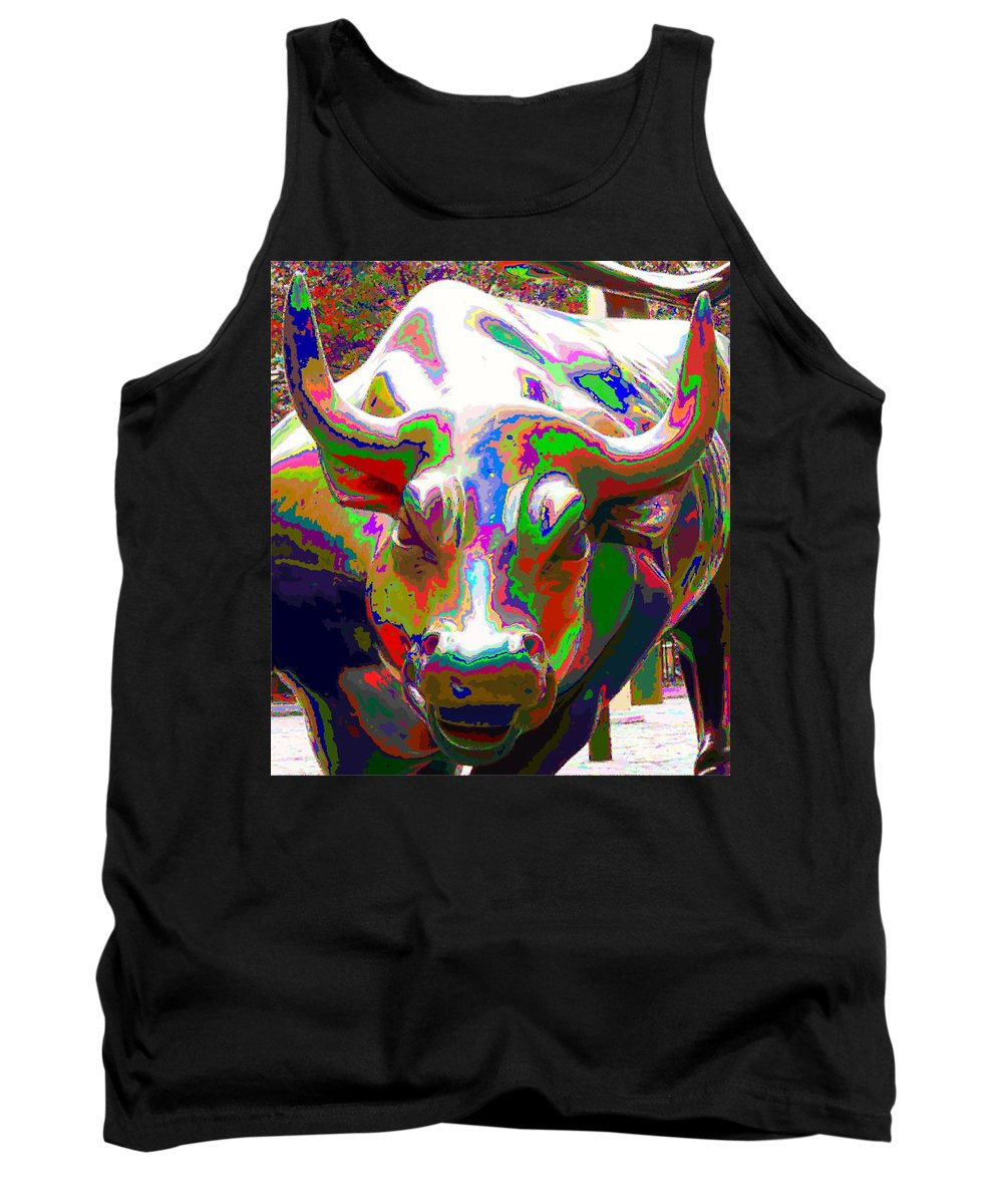 Wall Tank Top featuring the painting Colorful Wall Street Bull by Samuel Majcen