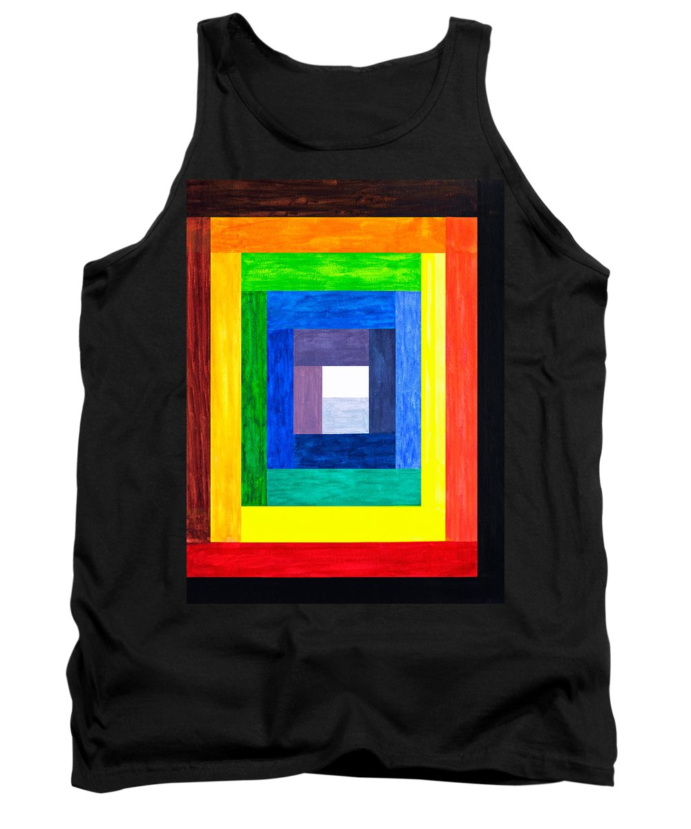 Rectangle Tank Top featuring the painting Colors Into One by Lee Serenethos