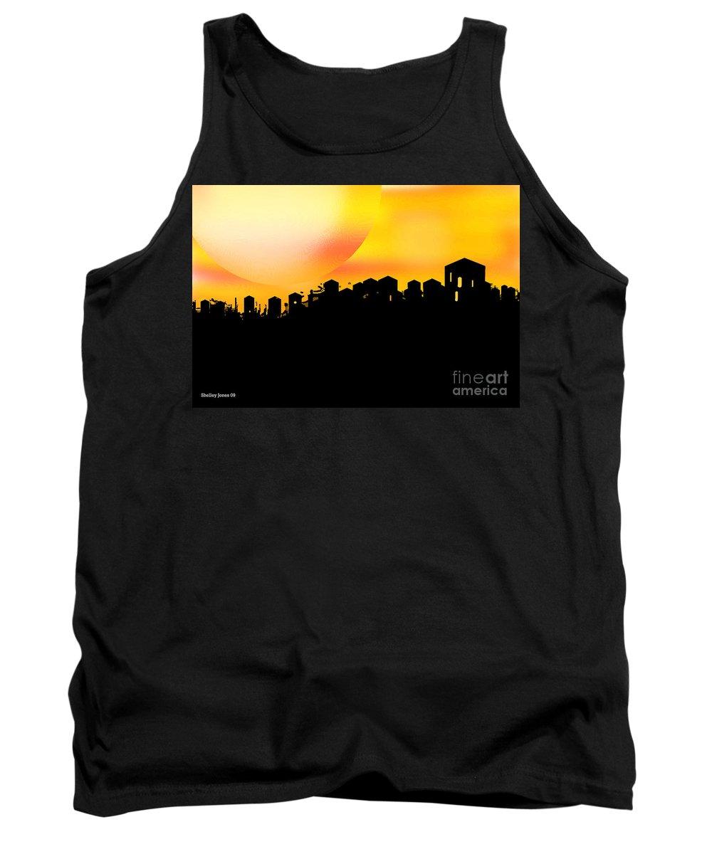 Sunset Tank Top featuring the digital art Colossal Ending by Shelley Jones