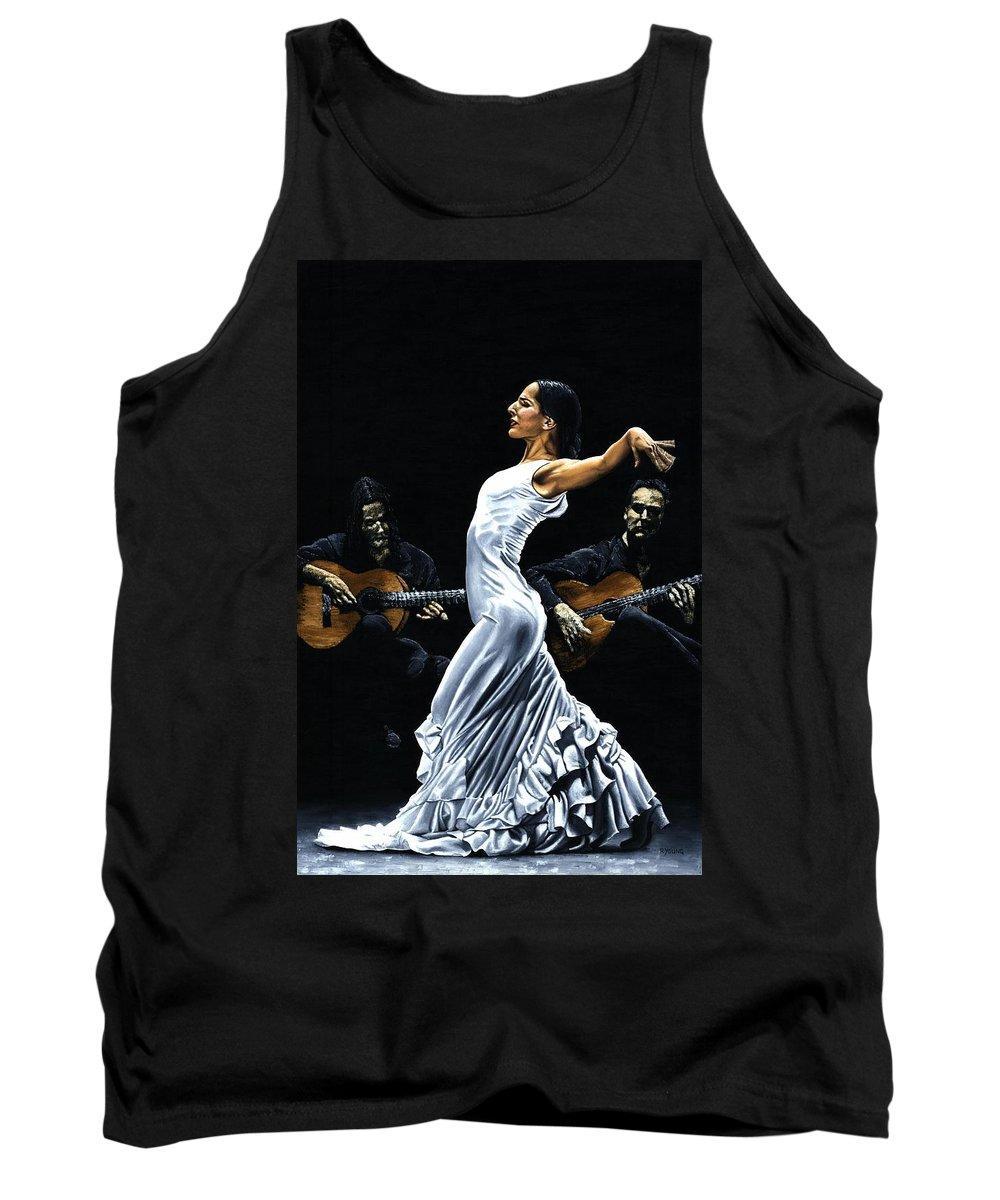 Flamenco Tank Top featuring the painting Concentracion Del Funcionamiento Del Flamenco by Richard Young