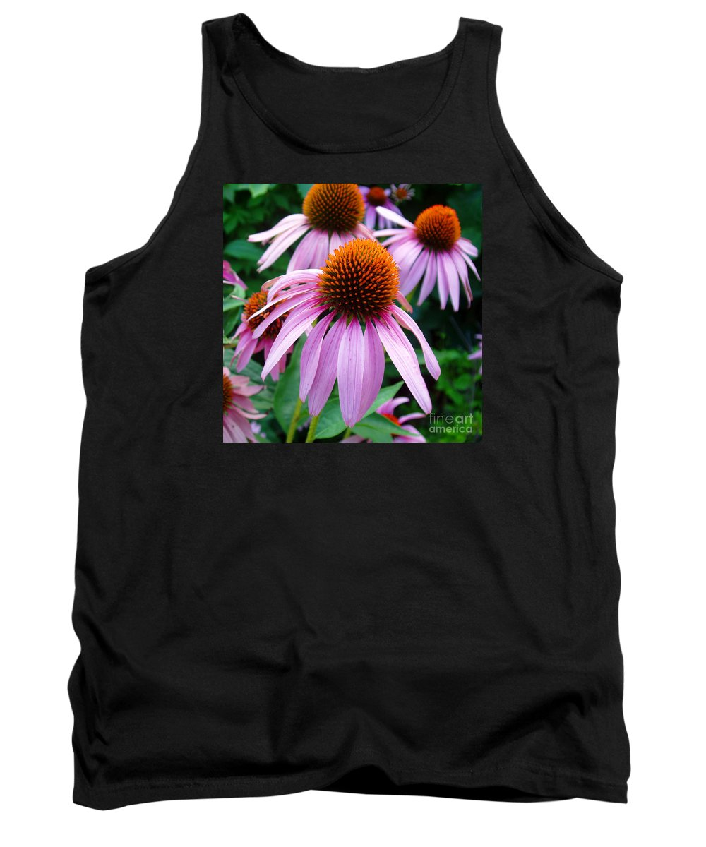 Coneflowers Tank Top featuring the photograph Three Coneflowers by Nancy Mueller