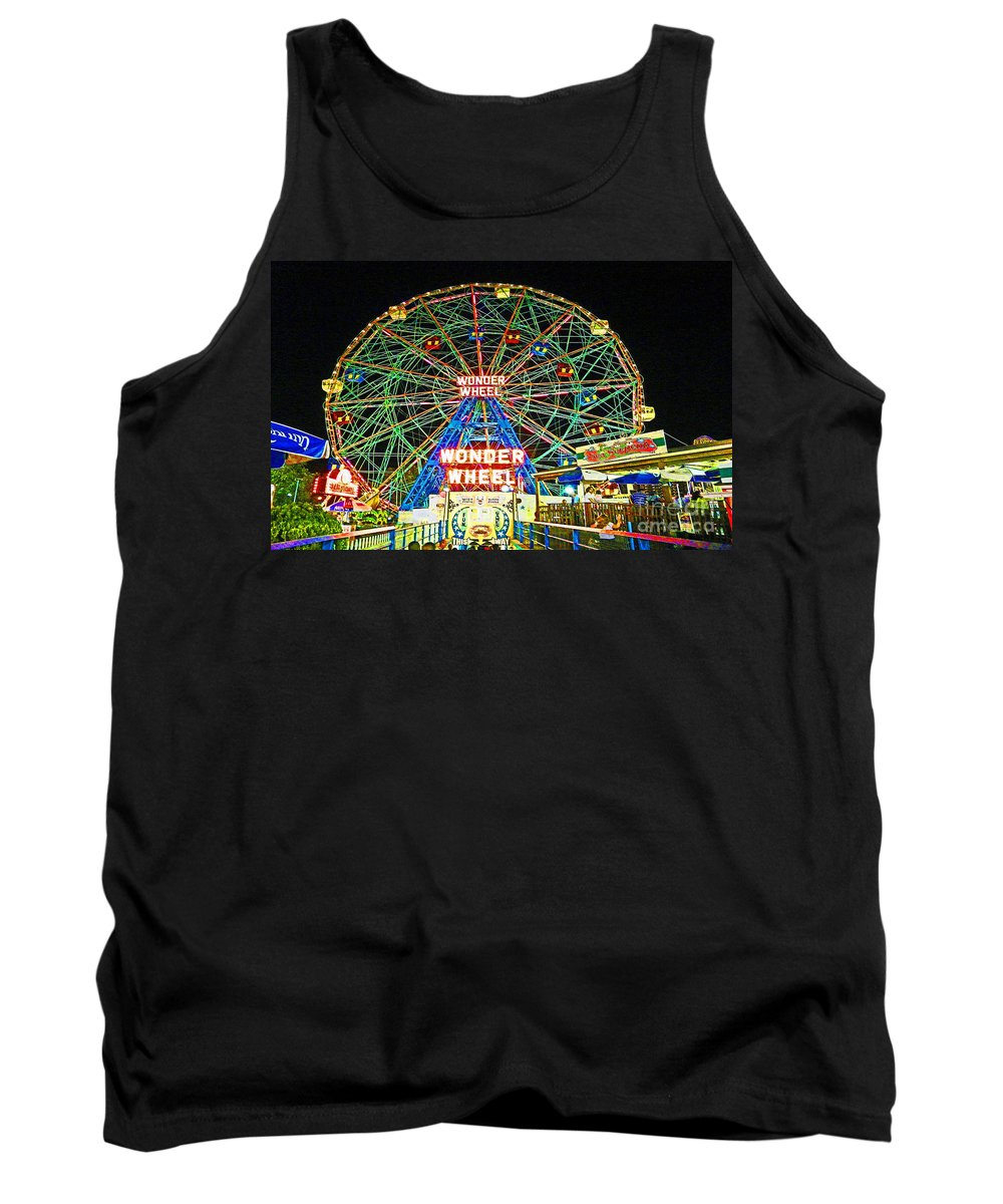 Coney Island Tank Top featuring the photograph Coney Island's Wonderous Wonder Wheel In Neon by Kendall Eutemey
