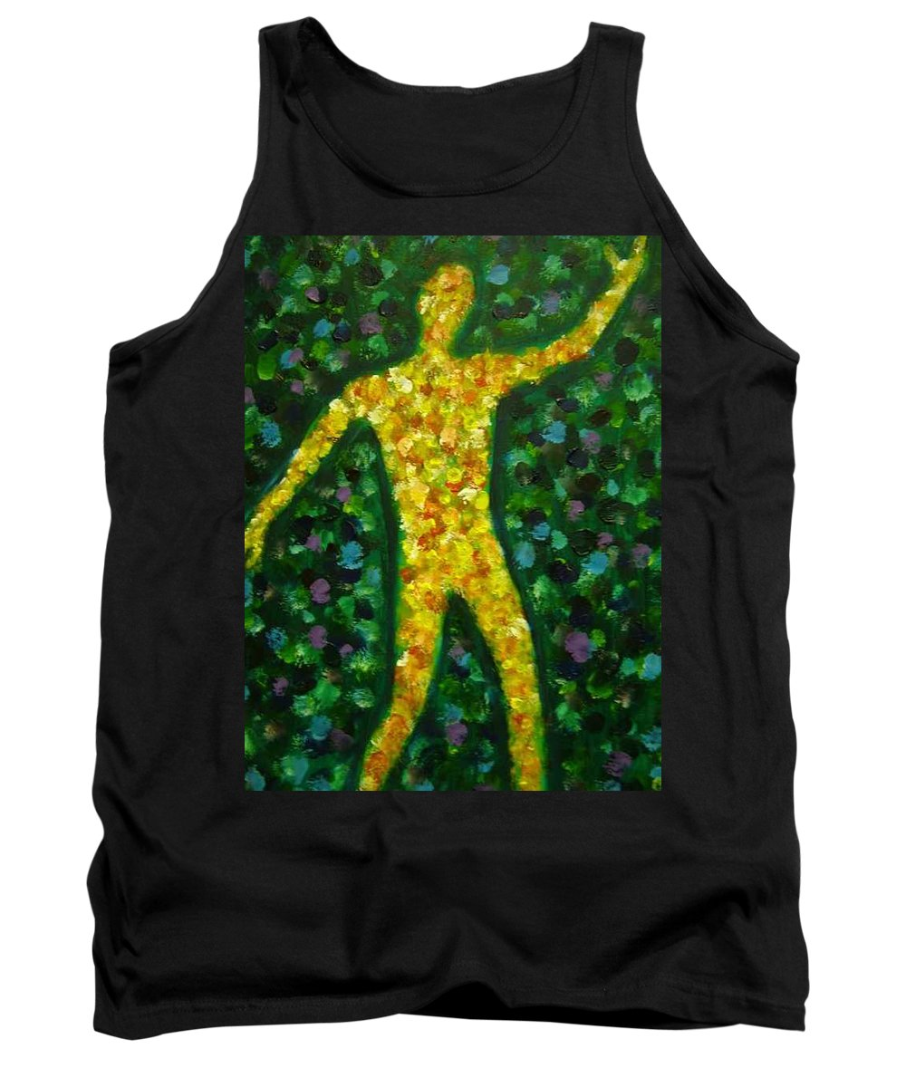 Acrylic Painting... Tank Top featuring the painting Conflict And Contrast by Jan Gilmore