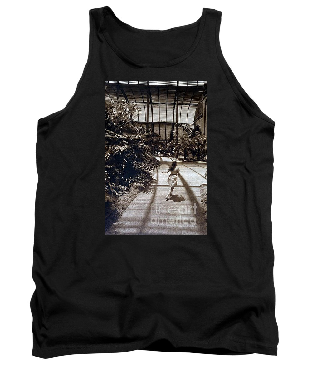 Sepia Tank Top featuring the photograph Conservatory, Barcelona 1976 by Michael Ziegler
