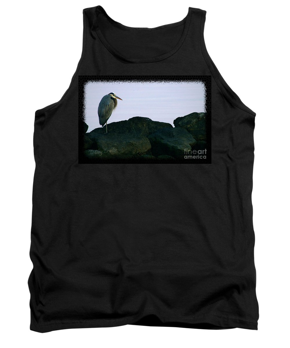 Clay Tank Top featuring the photograph Contemplating Heron by Clayton Bruster