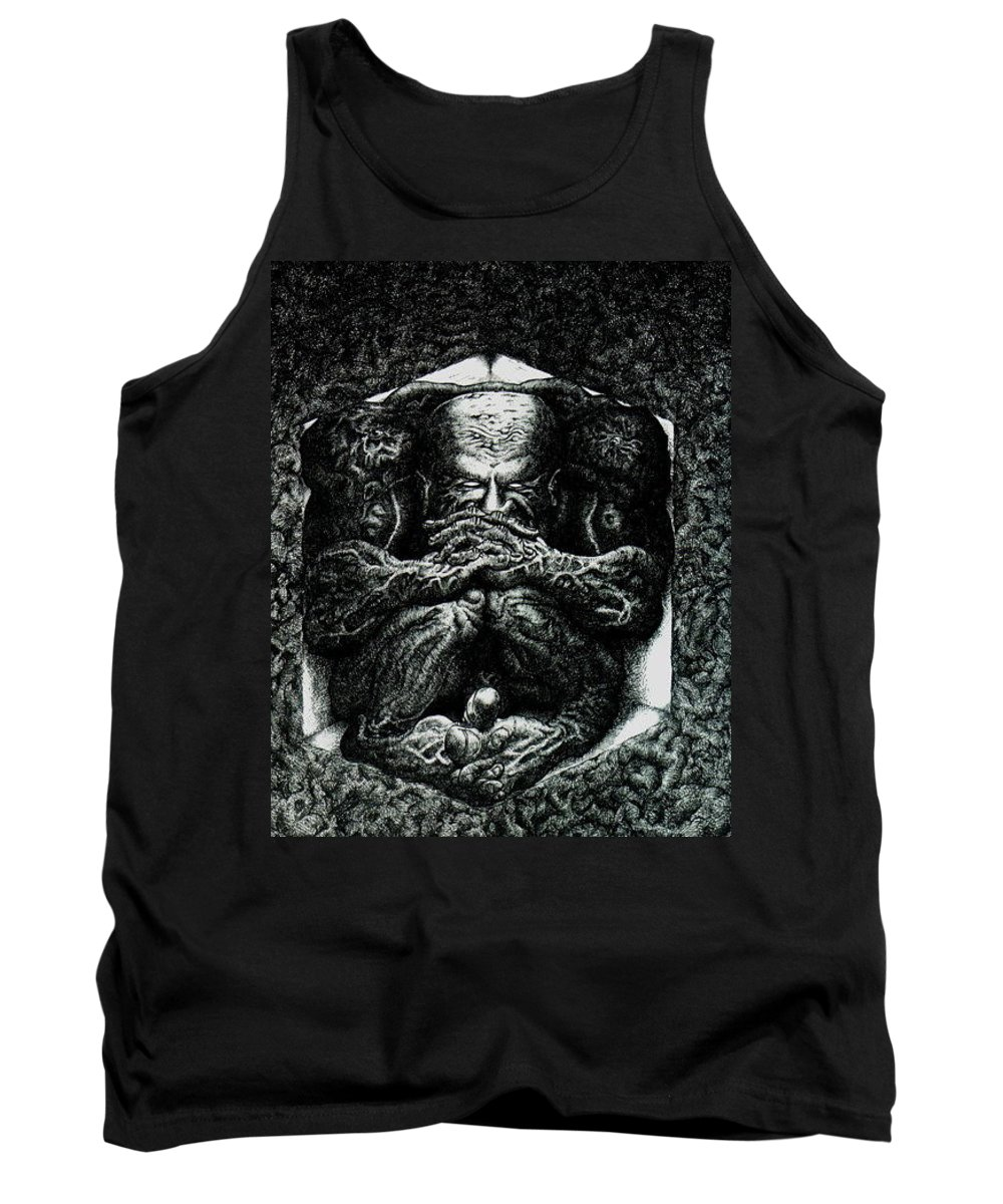 Dark Tank Top featuring the drawing Contemplation by Tobey Anderson
