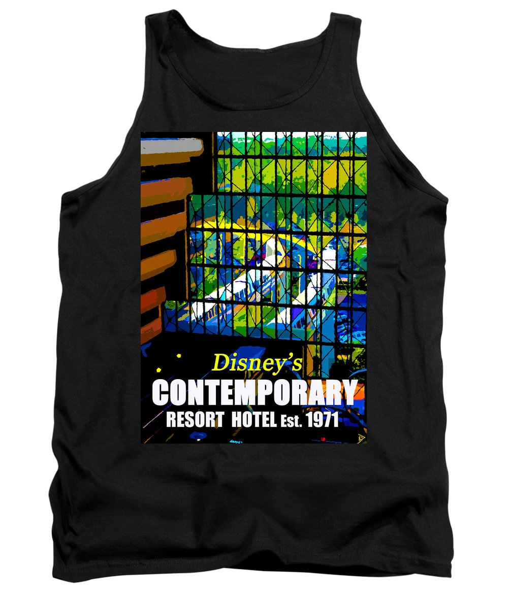 Disney's Contemporary Resort Hotel Tank Top featuring the painting Contemporary Window To The World by David Lee Thompson