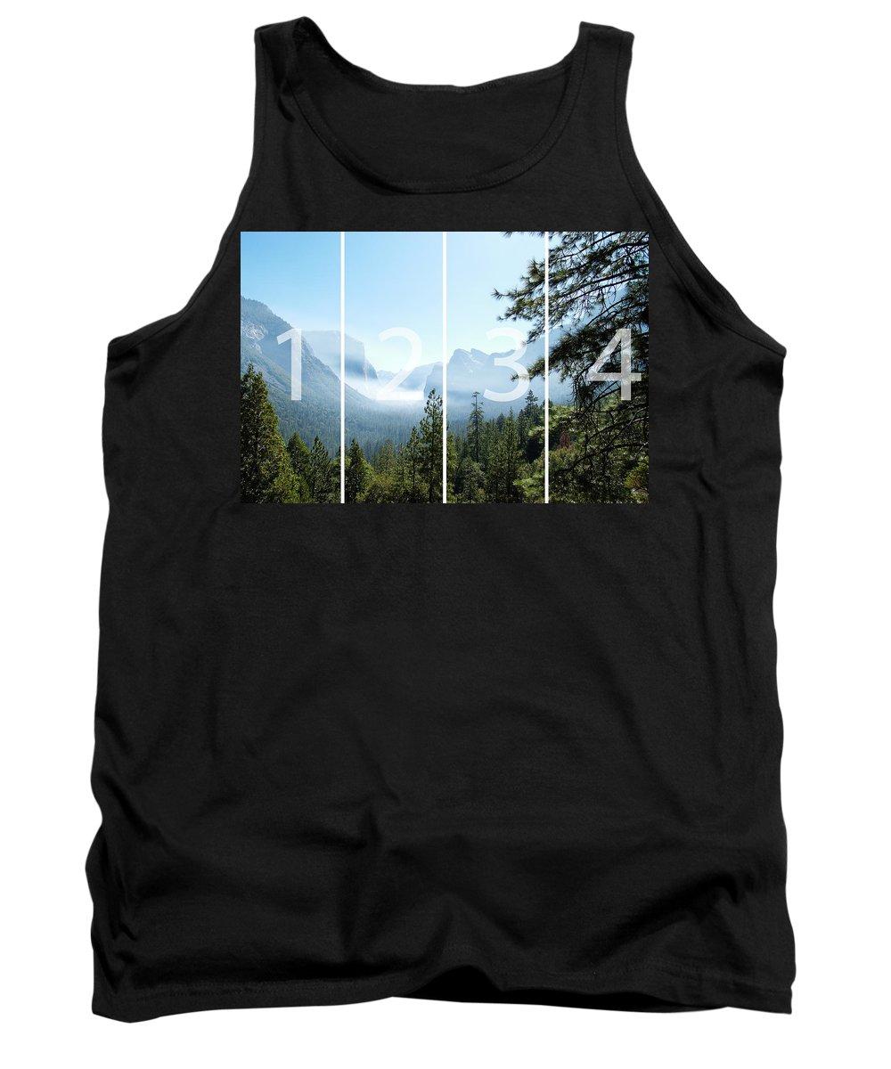 El Capitan Tank Top featuring the digital art Controlled Burn of Yosemite panoramic map by Michael Bessler