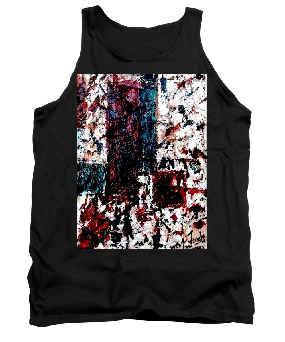 Oil Painting Tank Top featuring the painting Conversation by Fareeha Khawaja