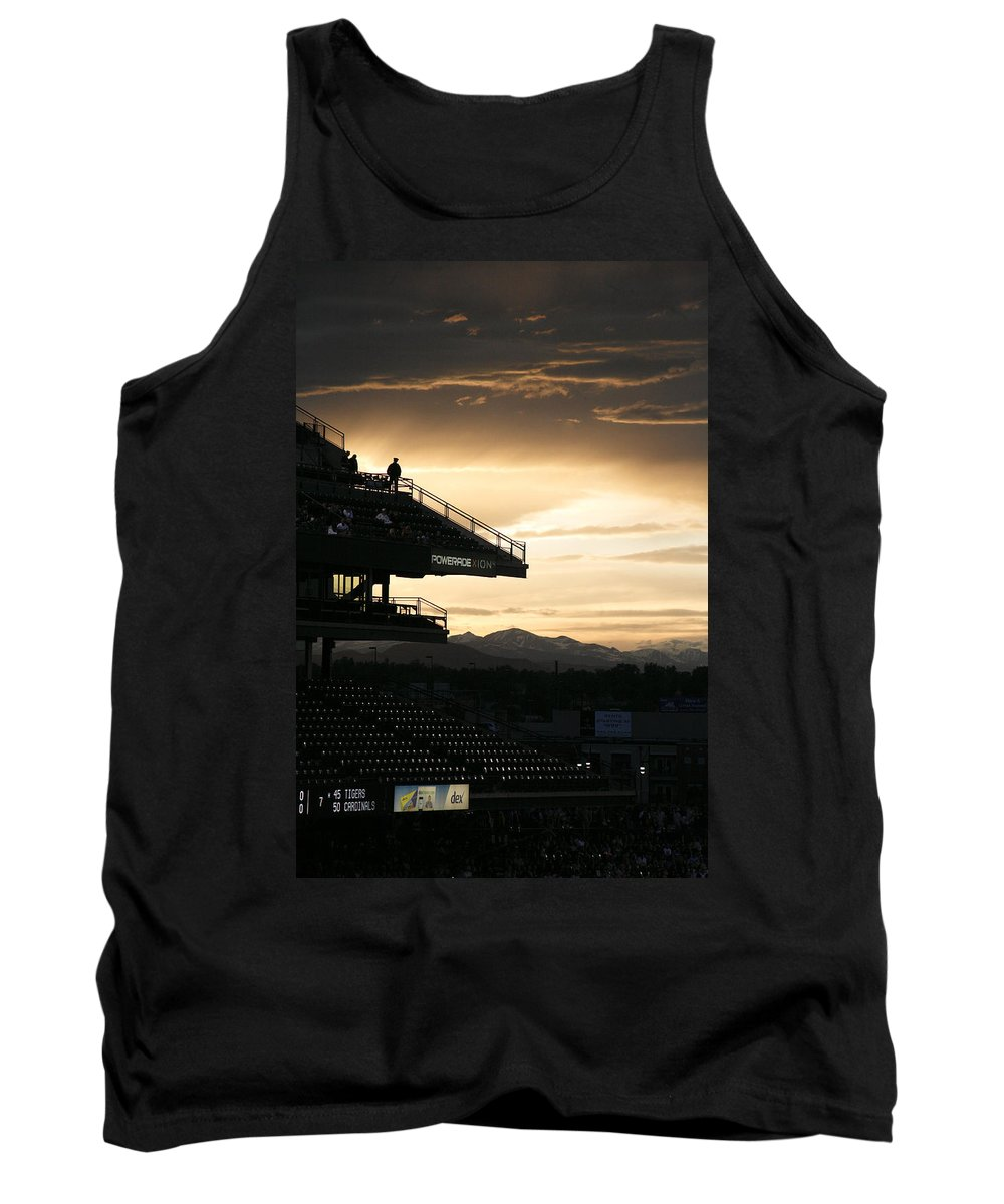 Americana Tank Top featuring the photograph Coors Field At Sunset by Marilyn Hunt