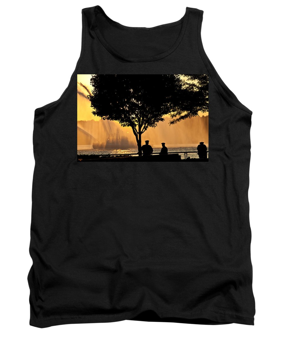July 4th Tank Top featuring the photograph Cops Watch A Fireboat On The Hudson River by Chris Lord