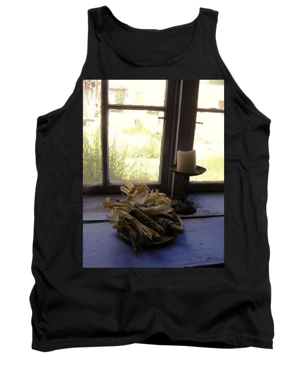 Still Life Tank Top featuring the photograph Corn And Candle by Mary Rogers