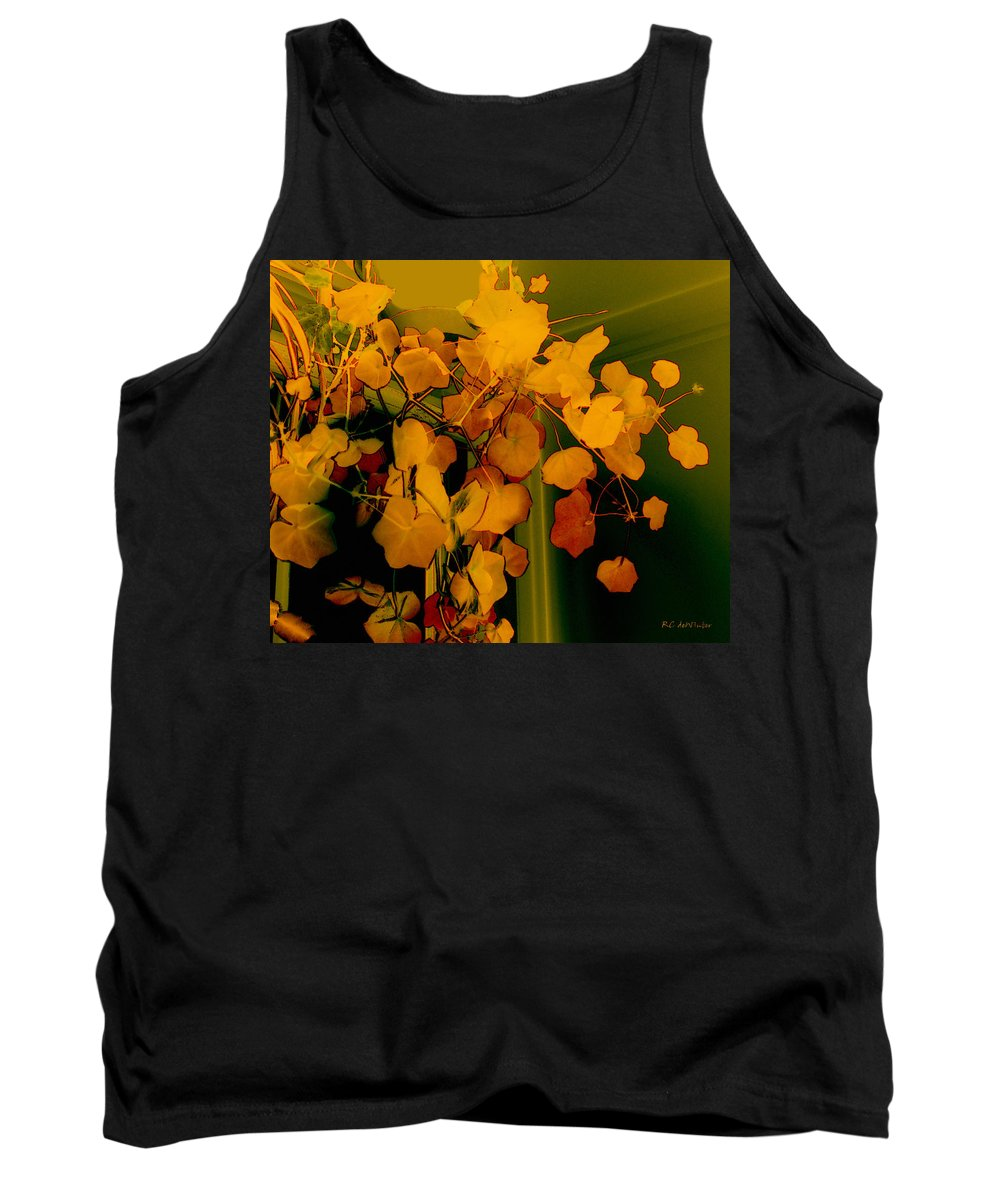 Autumn Tank Top featuring the digital art Corner In Green And Gold by RC DeWinter