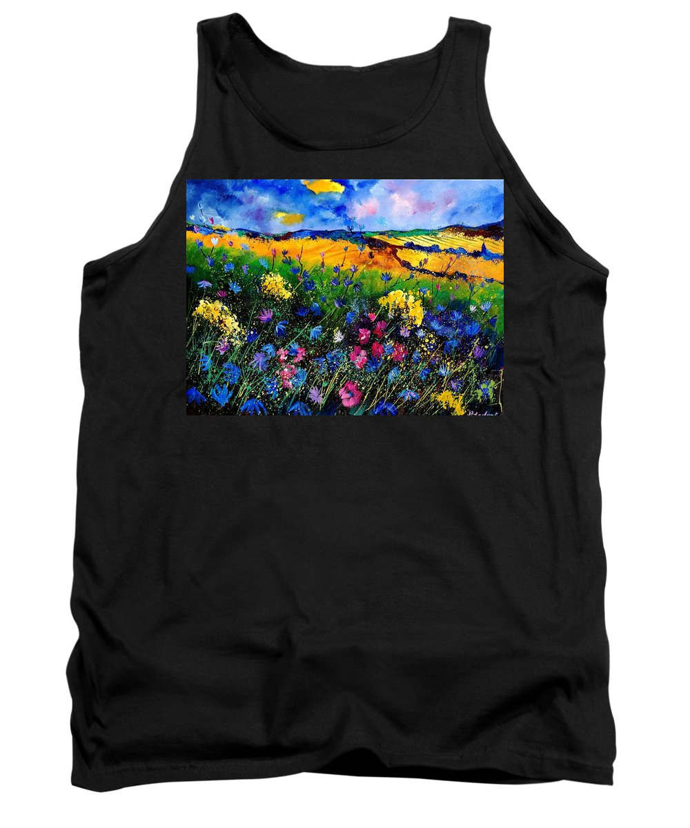 Flowers Tank Top featuring the painting Cornflowers 680808 by Pol Ledent