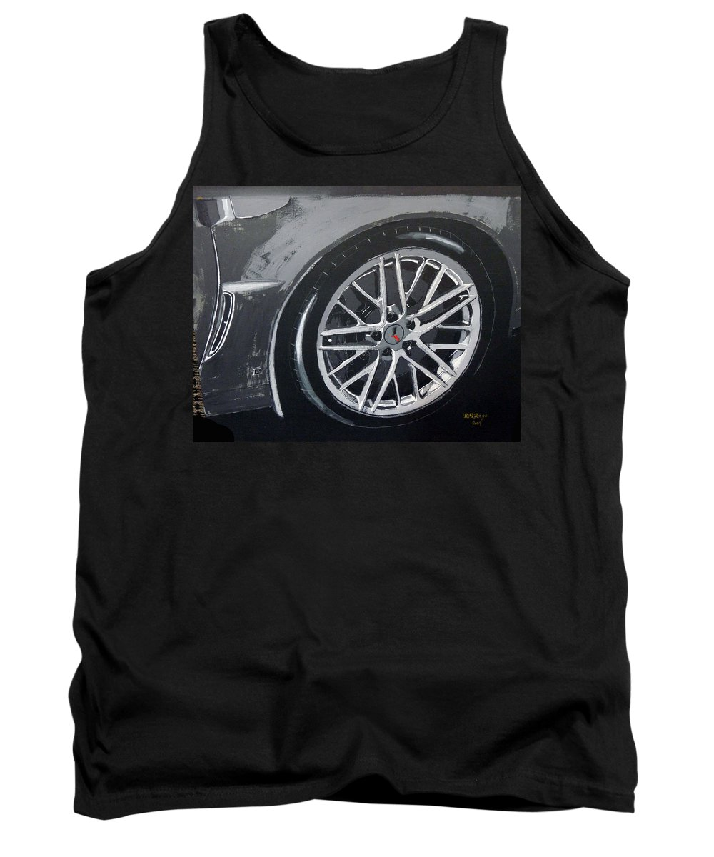 Corvette Tank Top featuring the painting Corvette Wheel by Richard Le Page