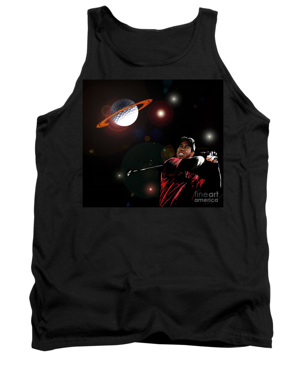 Golf Art Tank Top featuring the painting Cosmos Golf by Miki De Goodaboom