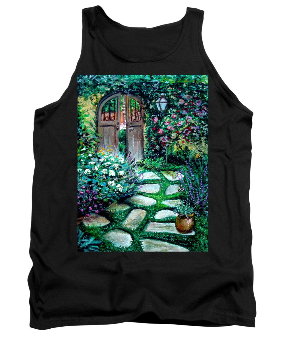 Landscape Tank Top featuring the pastel Cottage Gates by Elizabeth Robinette Tyndall