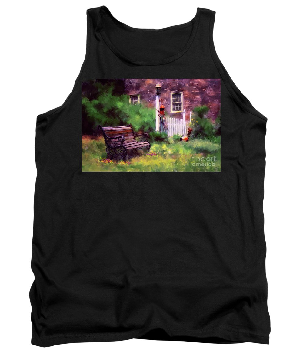 Bench Tank Top featuring the photograph Country Garden by Lois Bryan