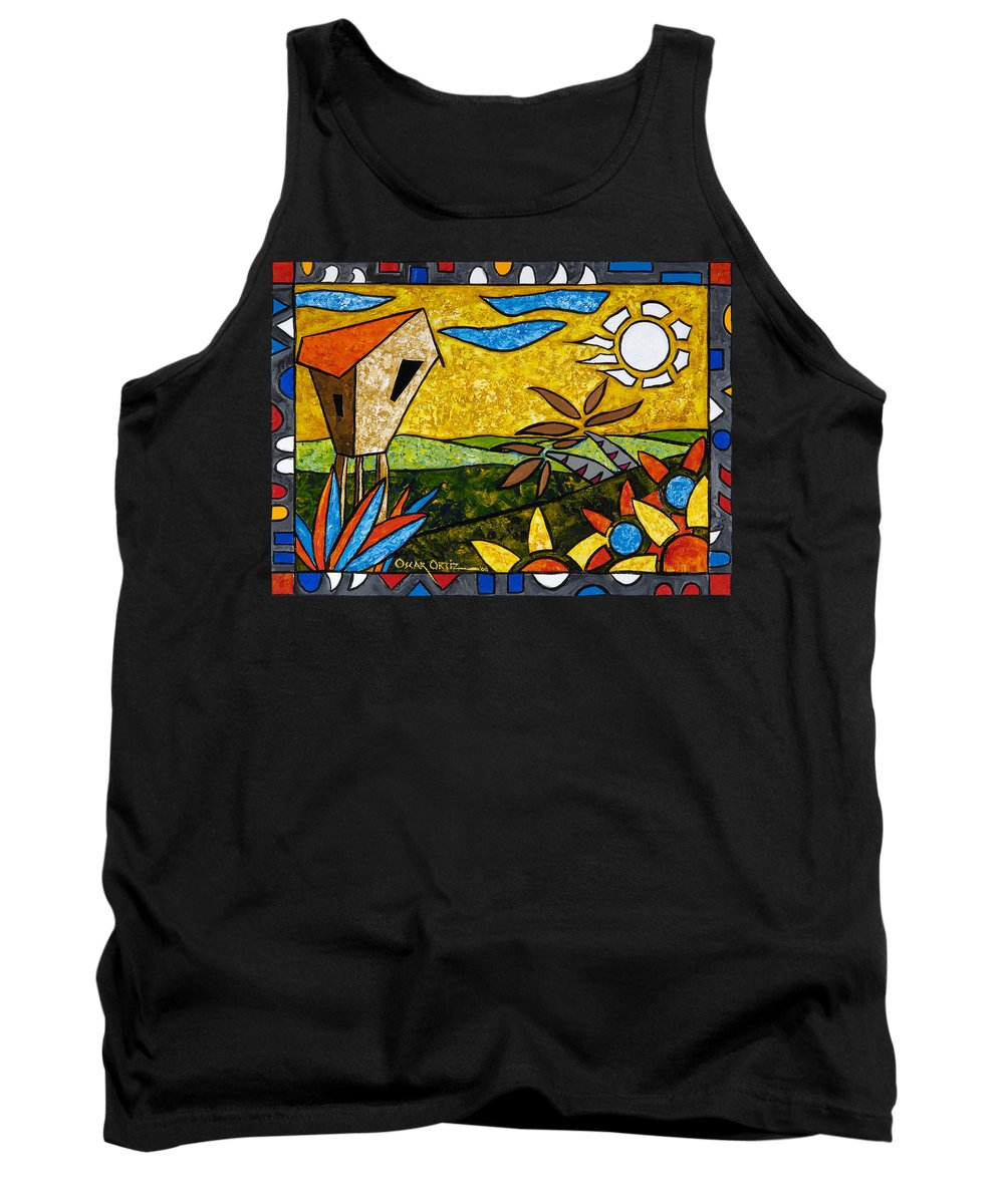 Puerto Rico Tank Top featuring the painting Country Peace by Oscar Ortiz