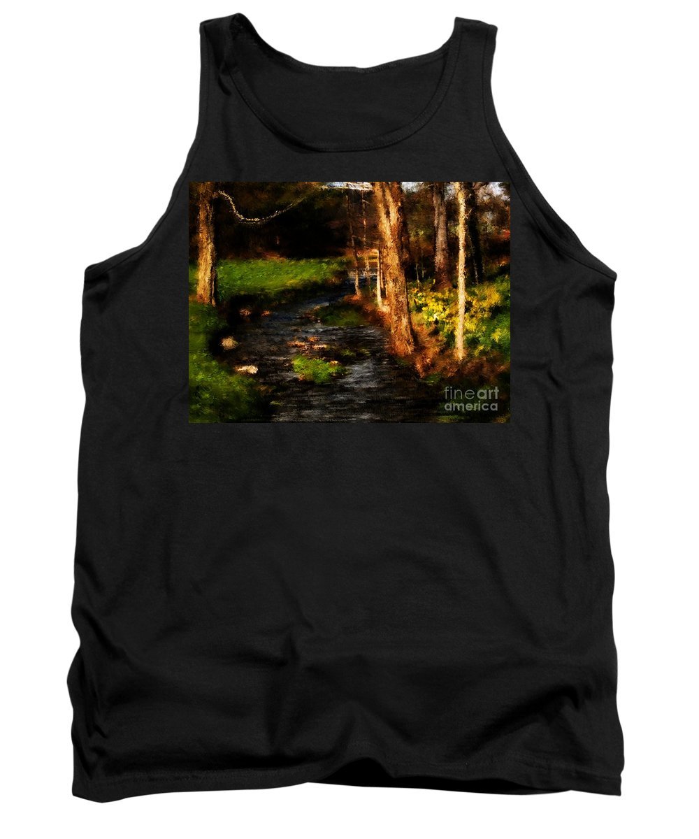 Digital Photo Tank Top featuring the photograph Country Stream by David Lane