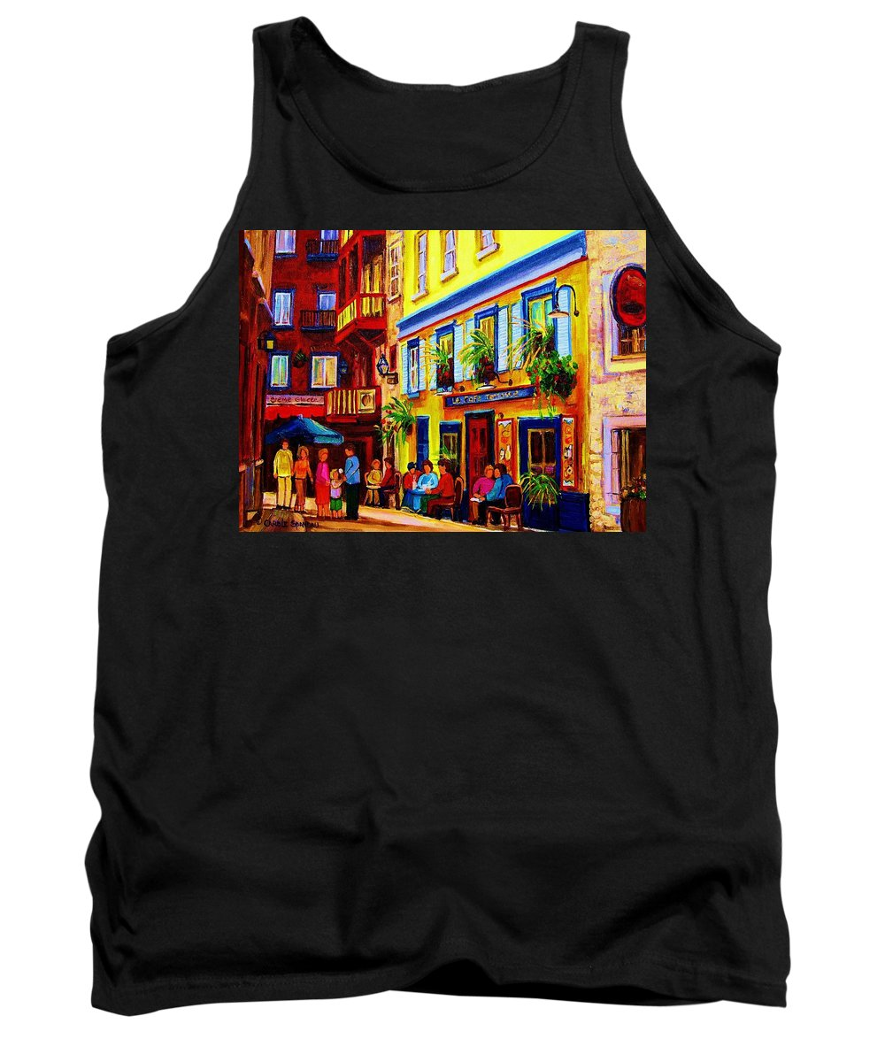 Courtyard Cafes Tank Top featuring the painting Courtyard Cafes by Carole Spandau