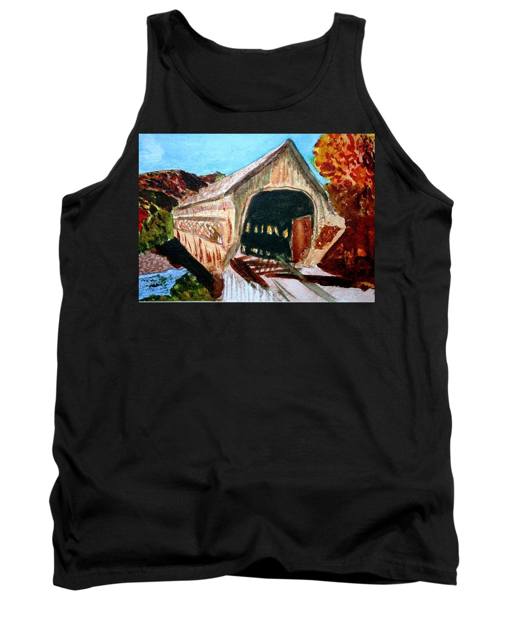 Covered Bridge Tank Top featuring the painting Covered Bridge Woodstock Vt by Donna Walsh