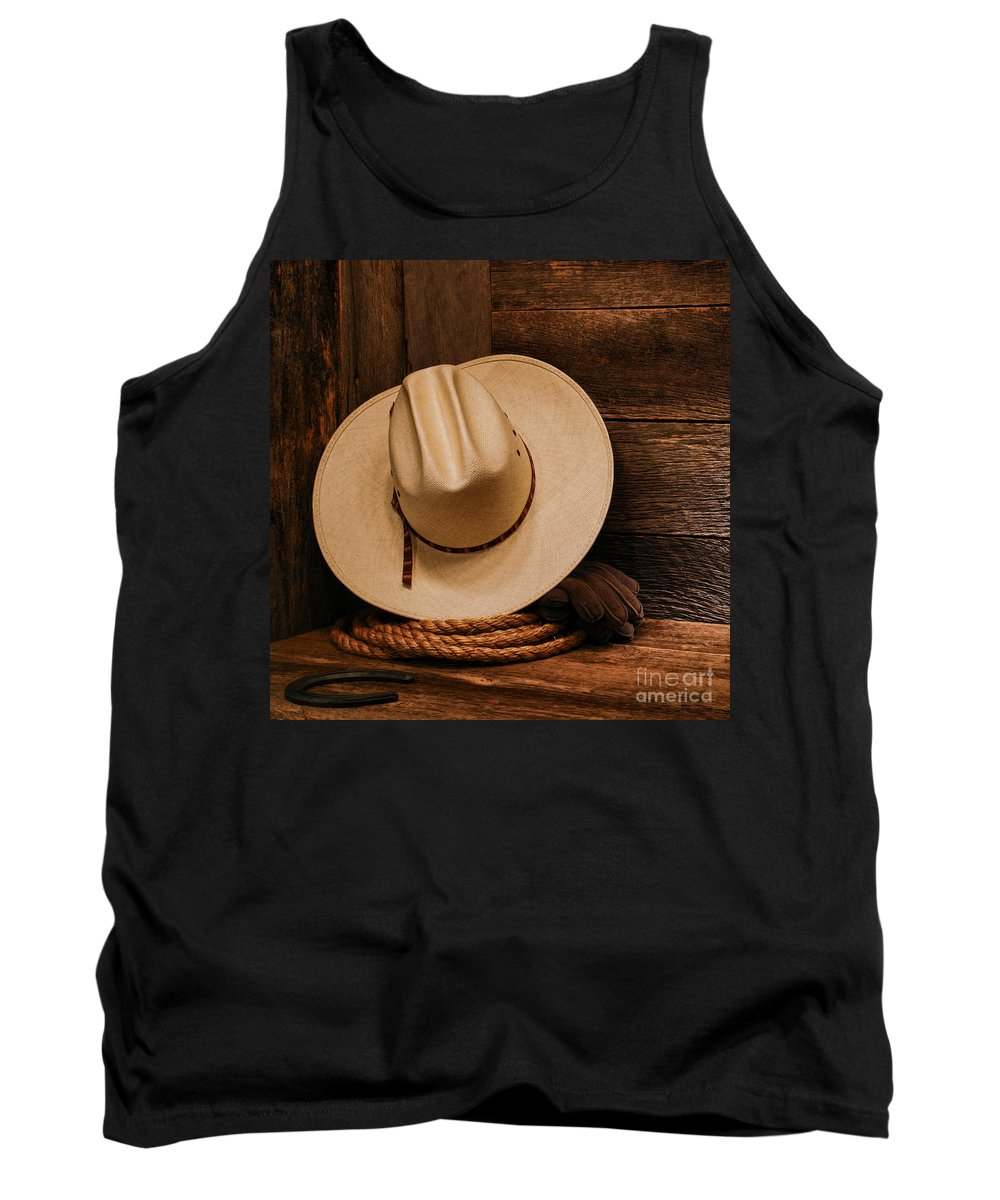 Western Tank Top featuring the photograph Cowboy Hat And Gear by Olivier Le Queinec