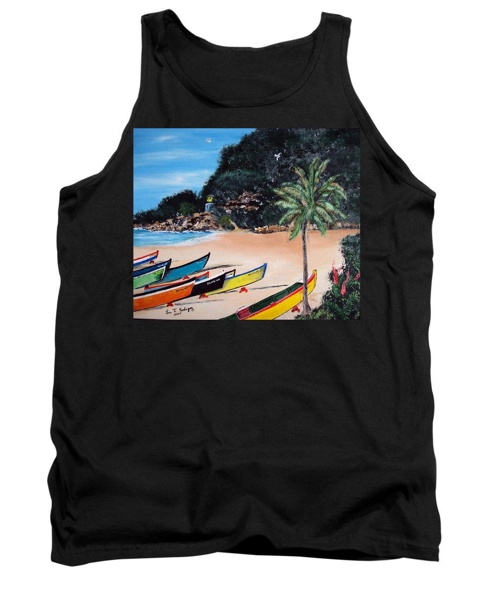Aguadilla Tank Top featuring the painting Crashboat Beach I by Luis F Rodriguez