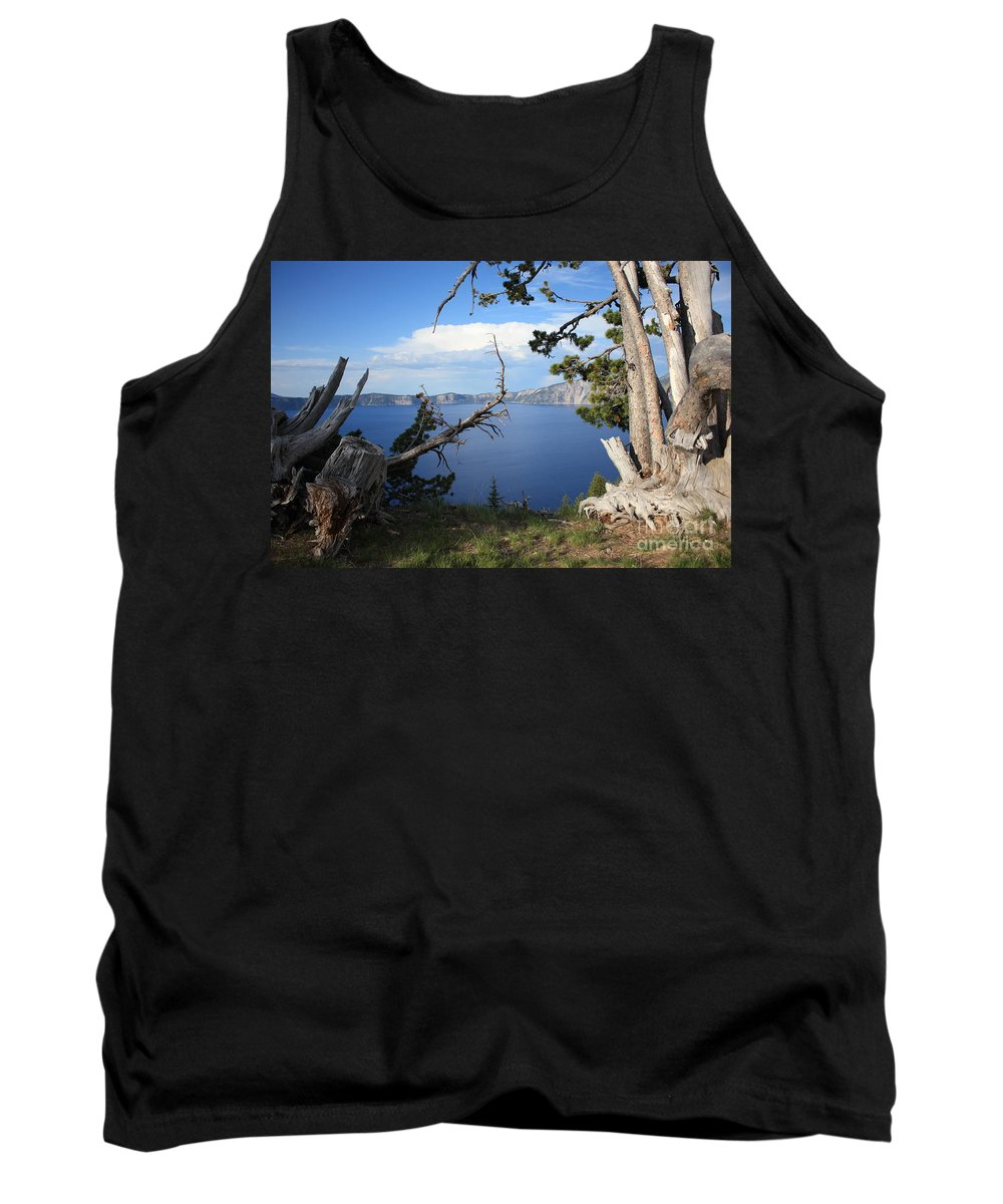 Crater Lake Tank Top featuring the photograph Crater Lake Perspective by Carol Groenen