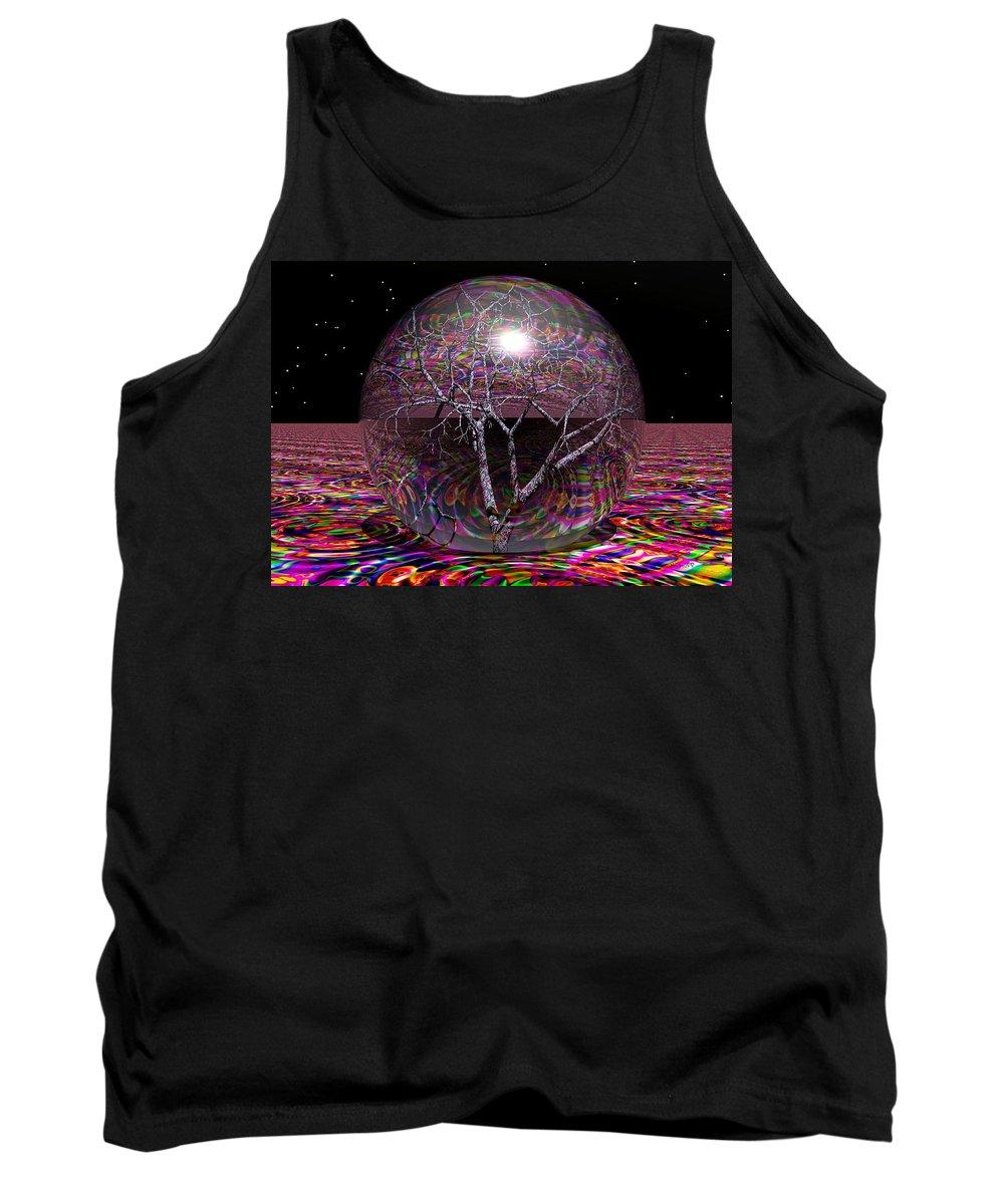 Sphere Tank Top featuring the digital art Crazy World by Robert Orinski