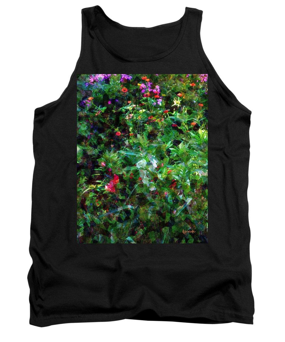 Garden Tank Top featuring the digital art Crazyquilt Garden by RC DeWinter