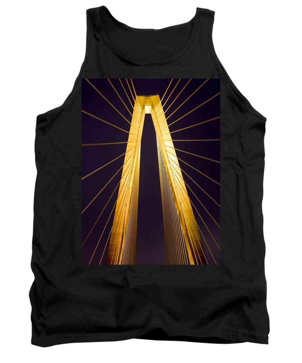Cooper River Bridge Tank Top featuring the photograph Crb Golden Tower by Rob Thompson