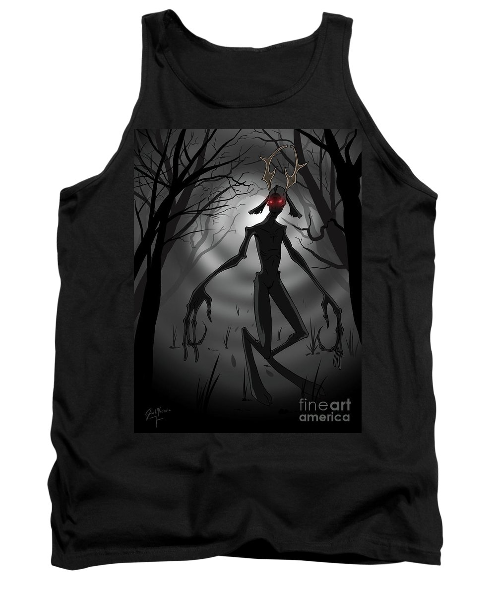 Creepy Tank Top featuring the digital art Creepy Nightmare Waiting In The Dark Forest by Josh Vierela