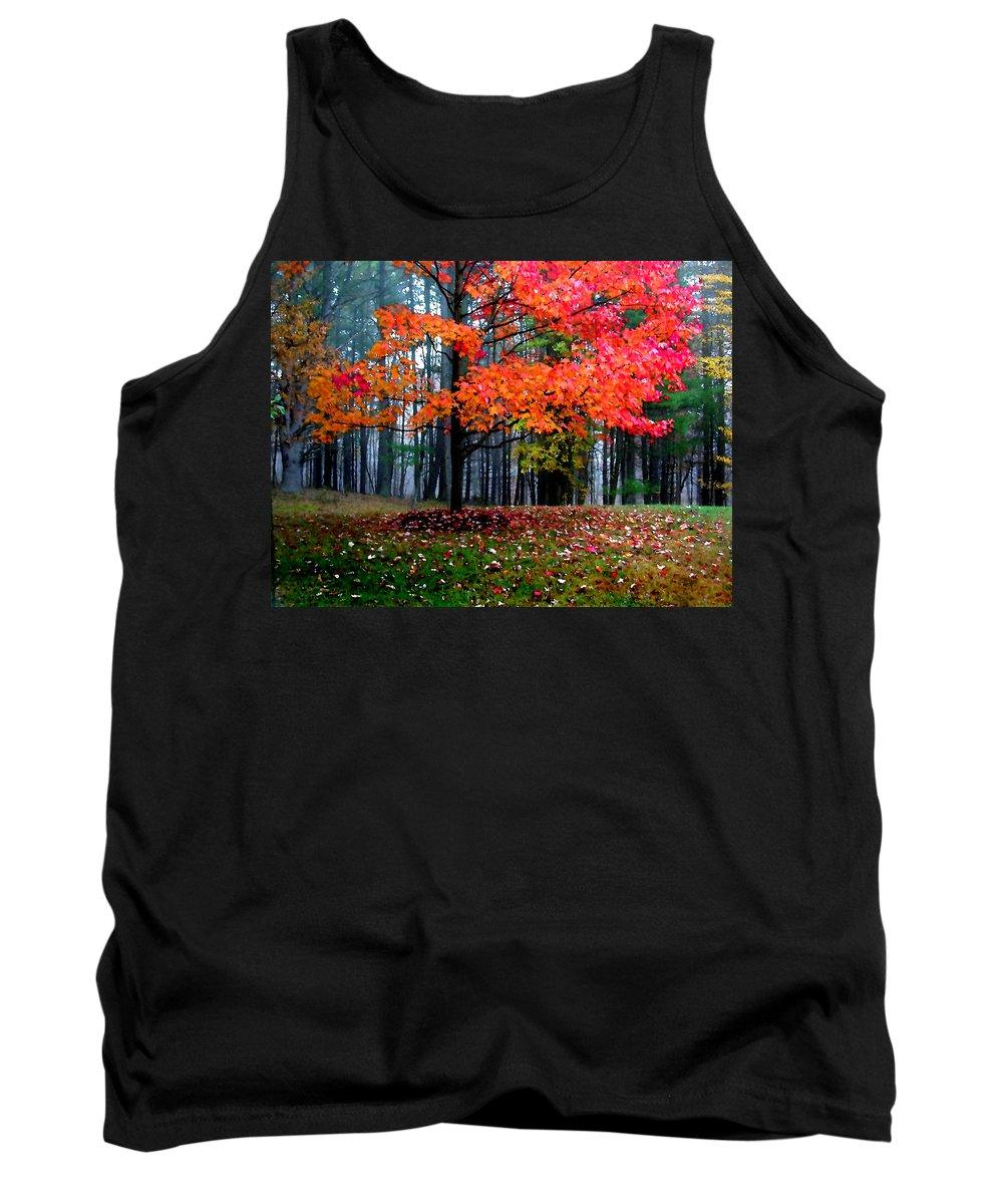 Autumn Tank Top featuring the painting Crimson Tree by Paul Sachtleben