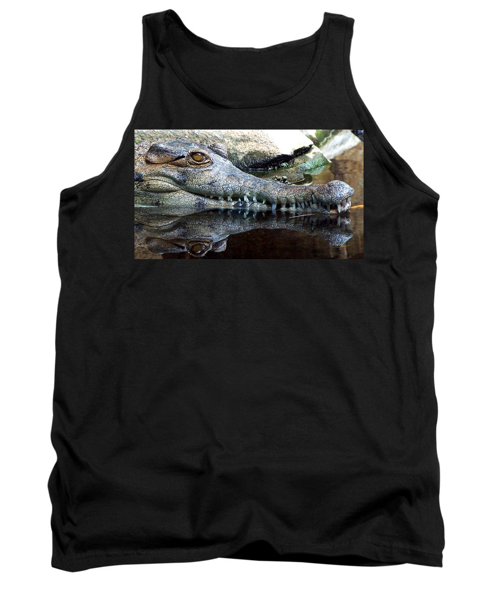 Crocodile Tank Top featuring the photograph Crocodile X2 by Dave Sribnik