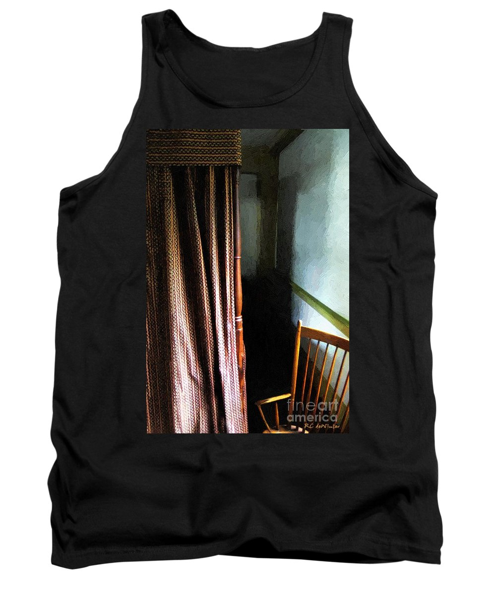 Americana Tank Top featuring the painting Curtains Closed by RC DeWinter