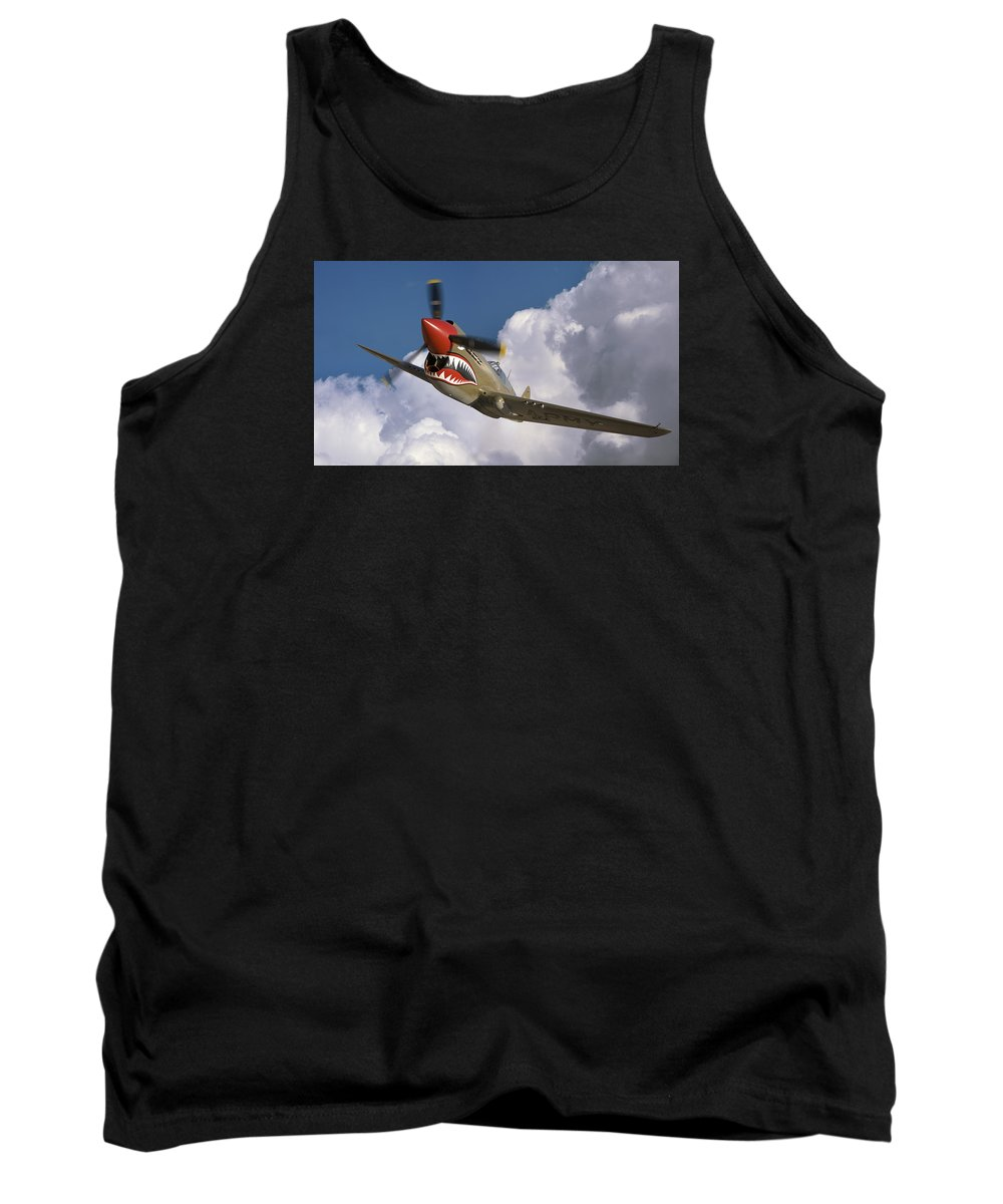 Flying Tigers Tank Top featuring the photograph Curtiss P-40n Warhawk by Larry McManus