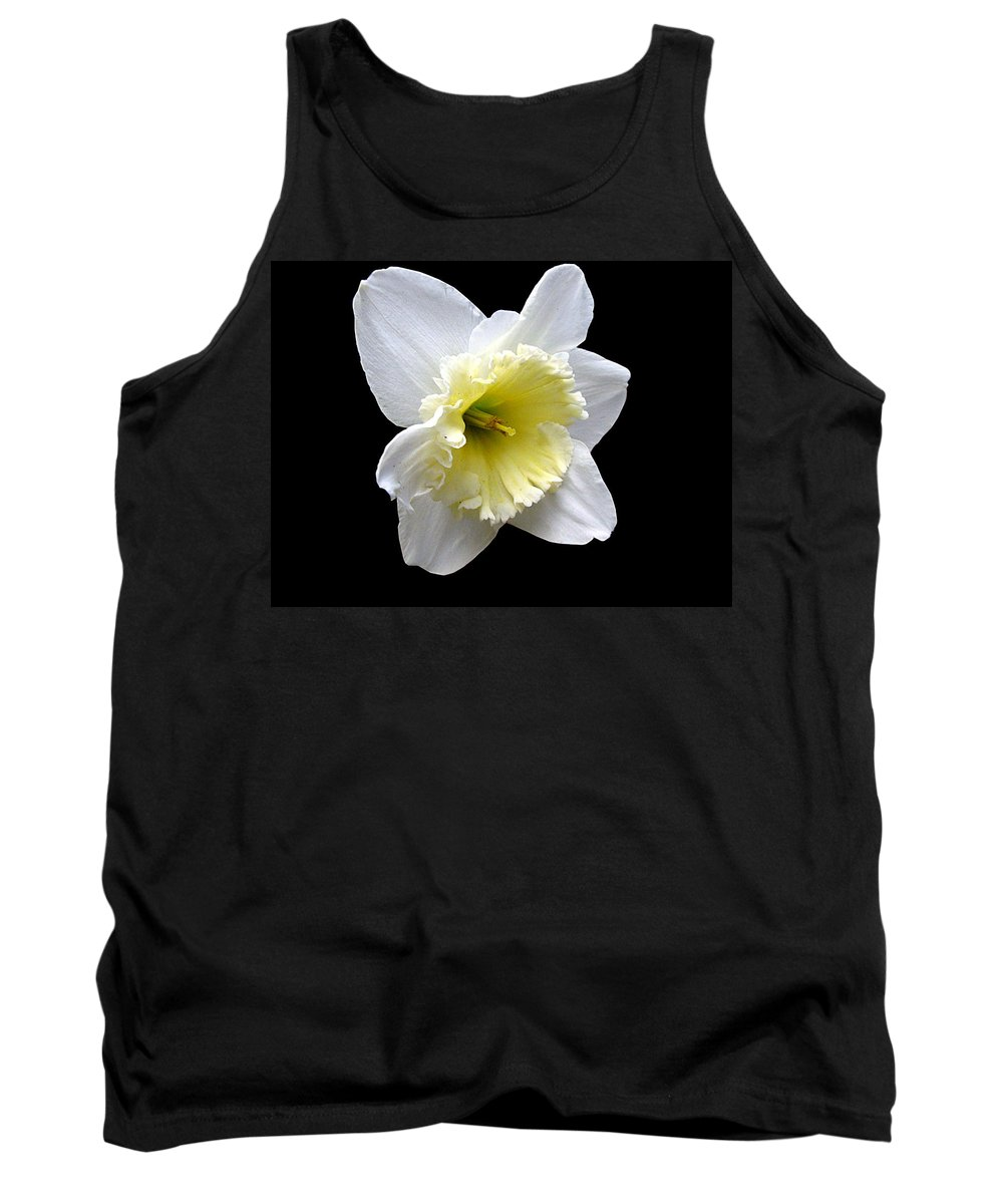 Daffodil Tank Top featuring the photograph Daffodil On Black by J M Farris Photography