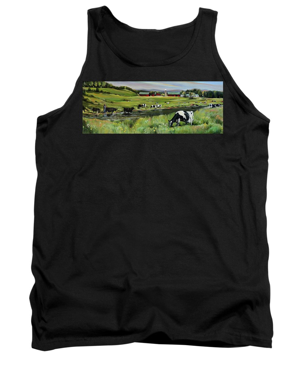 Landscape Tank Top featuring the painting Dairy Farm Dream by Nancy Griswold