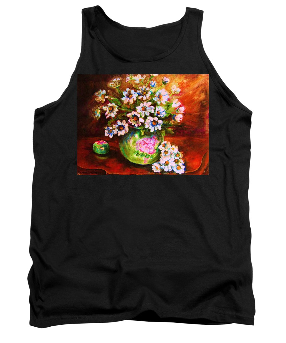Daisies Tank Top featuring the painting Daisies And Ginger Jar by Carole Spandau