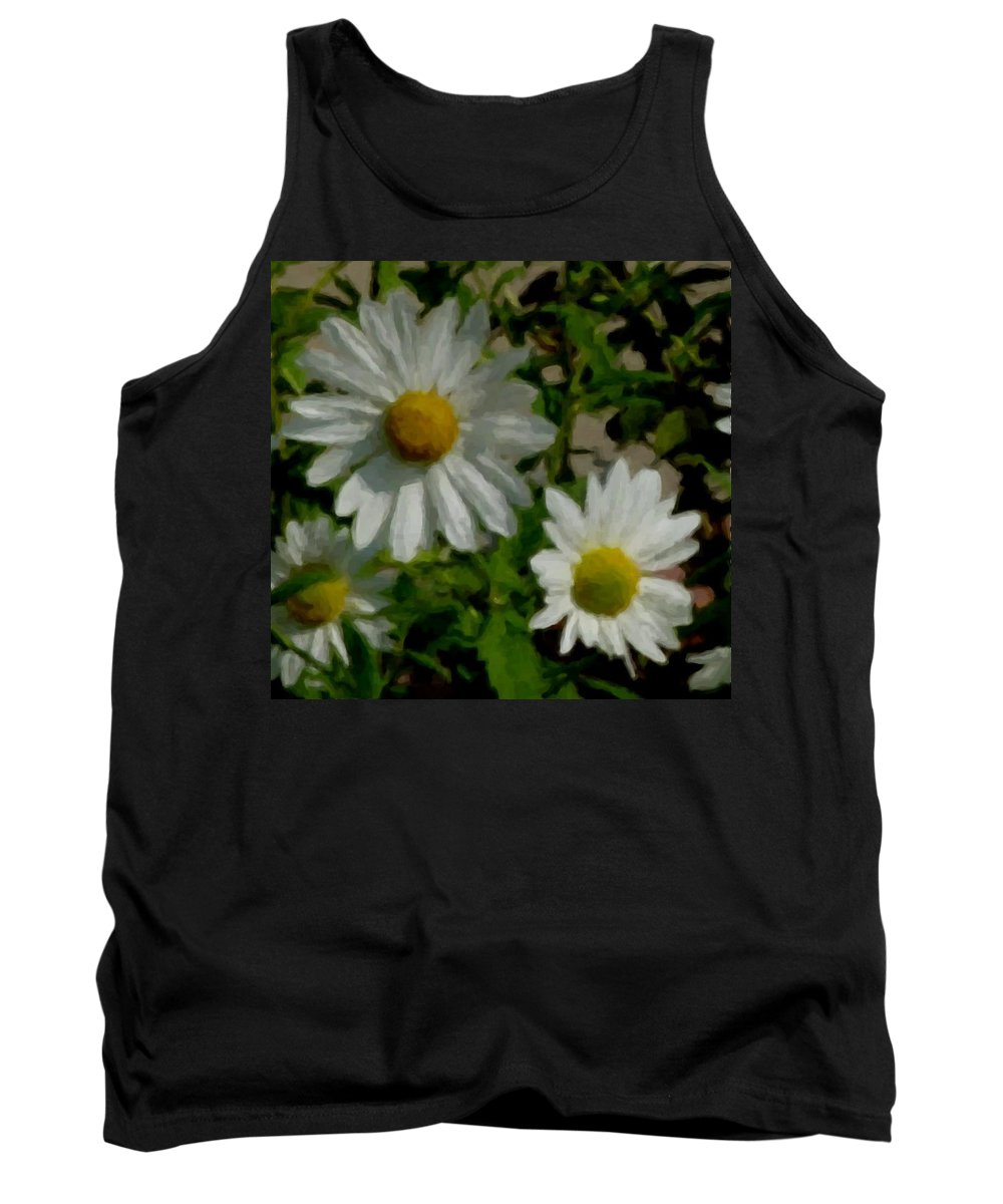 Daisy Tank Top featuring the digital art Daisies By The Number by Anita Burgermeister