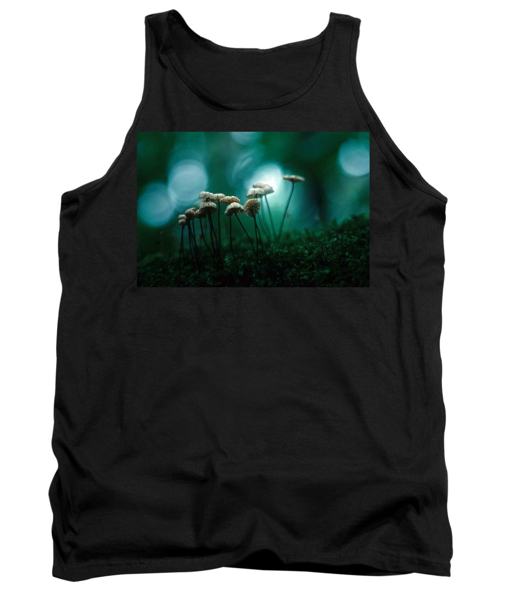Parasol Mushrooms Tank Top featuring the photograph Dancing Parasol Mushrooms by Laurie Paci