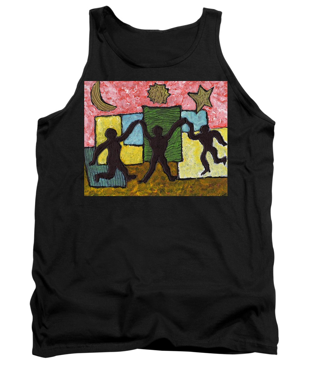Dancing Tank Top featuring the painting Dancing With The Stars...and The Sun And The Moon by Wayne Potrafka