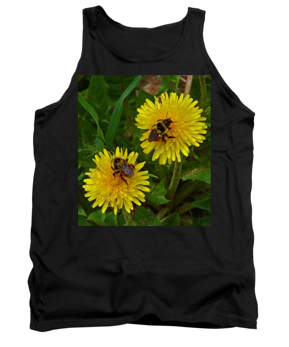Dandelion Tank Top featuring the photograph Dandelions And Bees by Heather Coen