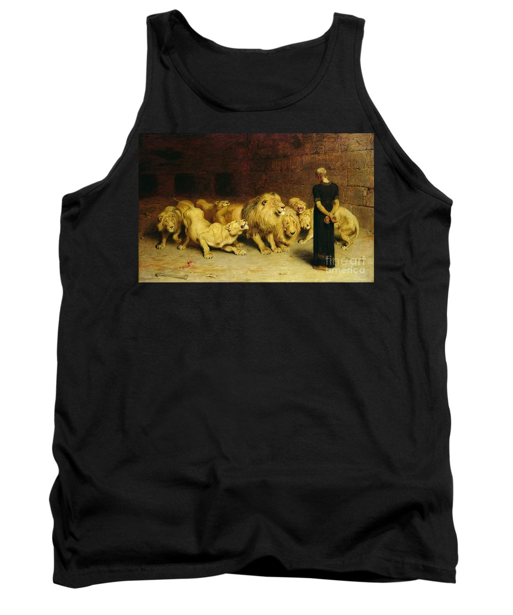 Daniel In The Lions' Den Tank Top featuring the painting Daniel In The Lions Den by Briton Riviere