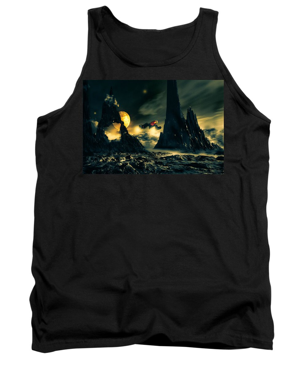 Science Fiction Tank Top featuring the mixed media Dark Planet by Bob Orsillo